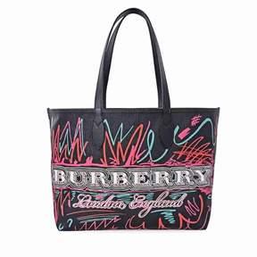 Burberry Medium Reversible Canvas Doodle Tote - Black/Multicolor