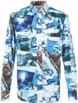 Gitman Brothers skying print shirt