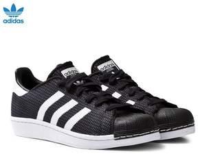 adidas Black and White Mesh Junior Superstar Trainers