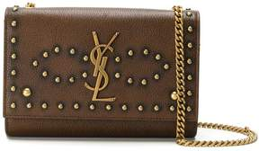 Saint Laurent small studded Kate satchel - BROWN - STYLE