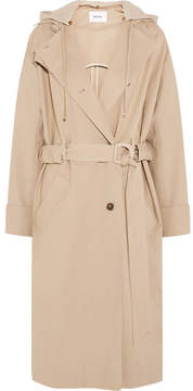 Dakota Nanushka Belted Hooded Cotton-blend And Fleece Parka - Beige