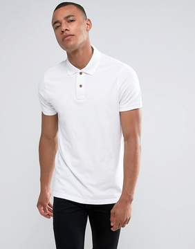 Hollister Slim Fit Pique Polo Seagull Embroidery in White