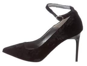 Oscar de la Renta Velvet Ankle Strap Pumps w/ Tags