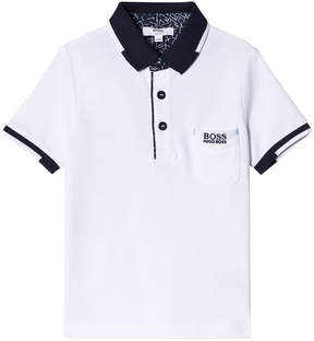 BOSS White Pique Polo with Pocket and Contrast Collar
