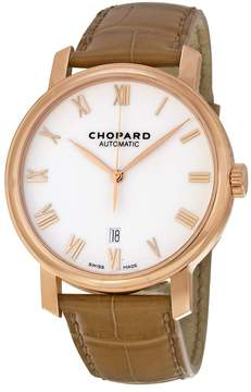 Chopard White Dial 18kt Rose Gold Brown Leather Men's Watch