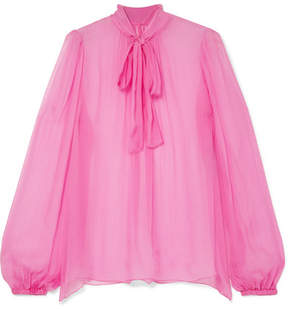 Dolce & Gabbana Pussy-bow Silk-crepon Blouse - Pink
