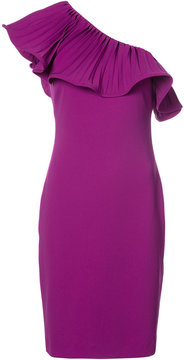 Badgley Mischka pleated one-shoulder dress