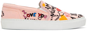 Kenzo Pink Limited Edition I Love You K-Skate Slip-On Sneakers