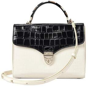 Aspinal of London Mayfair Bag In Deep Shine Ivory Black Croc