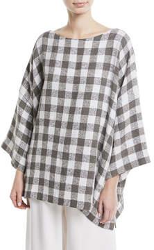 eskandar 3/4-Sleeve Check Linen-Blend Tunic