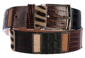 Etro Mixed Leather Buckle Belt