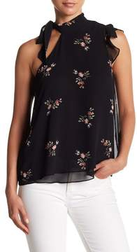 BCBGeneration Asymmetrical Floral Tie Neck Top