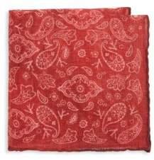 Isaia Fazzoletti Printed Linen Pocket Square