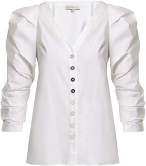 Carolina Herrera Cotton-blend puff-sleeved blouse