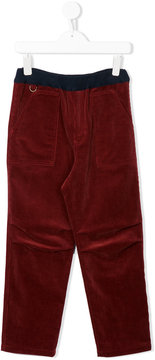 Familiar contrasting waistband corduroy trousers