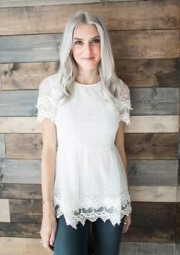Ampersand Avenue Sophia Lace Peplum - White