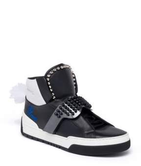 Fendi Karlito Studded High-Top Leather Sneakers