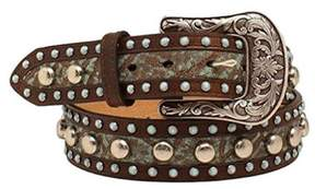 Ariat A1520002-L 1.5 in. Womens Turq Stone Nailhead Belt, Brown - Large