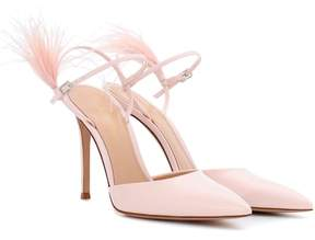 Gianvito Rossi Simone feather-trimmed patent leather pumps