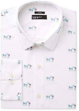 Bar III Men's Slim-Fit Stretch Easy Care Horse and Jockey Print Dress Shirt, Created for Macy's