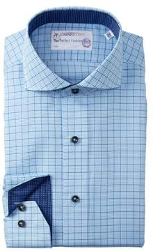 Lorenzo Uomo Textured Windowpane Trim Fit Dress Shirt