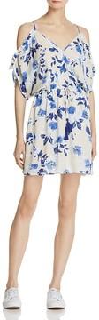 En Creme Floral Cold-Shoulder Dress