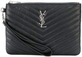 Saint Laurent Monogram wristlet pouch - BLACK - STYLE