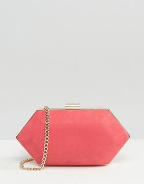 Miss KG Jewel Box Clutch in Pink Suedette