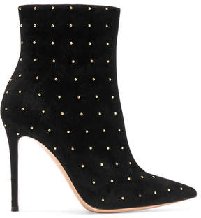 Gianvito Rossi Tyler 100 Studded Suede Ankle Boots - Black