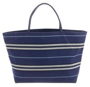 Burberry Striped Woven Tote - BLUE - STYLE