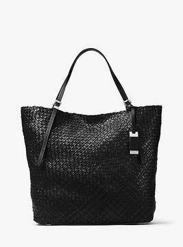 Michael Kors Hutton Large Woven-Leather Tote - BLACK - STYLE