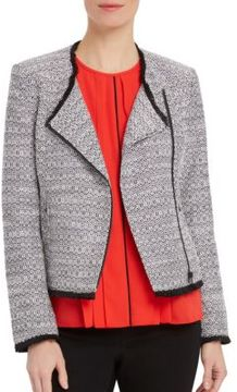 Ellen Tracy Asymmetrical Zip Tweed Blazer