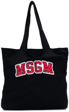 MSGM logo embroidered tote bag