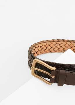 Mango Outlet Braided leather belt