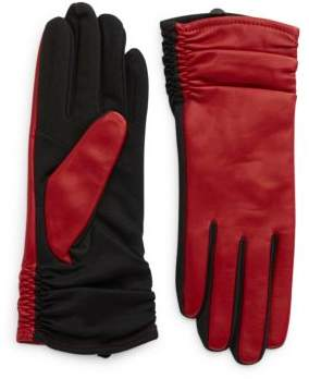 Lord & Taylor Cherry Ruched Touchscreen Gloves
