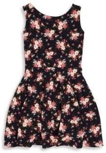 Un Deux Trois Girl's Floral-Print Sleeveless Dress