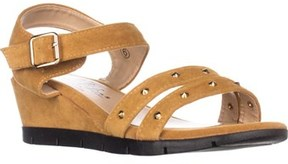 Callisto Plush Low-wedge Sandals, Tan.