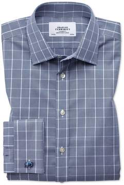 Charles Tyrwhitt Classic Fit Non-Iron Prince Of Wales Navy Blue and White Cotton Dress Shirt French Cuff Size 15.5/35