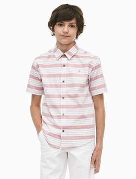 Calvin Klein boys yarn-dyed stripe short sleeve shirt