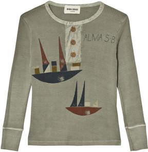 Bobo Choses Grey-Green Sailing Print Buttons T-Shirt