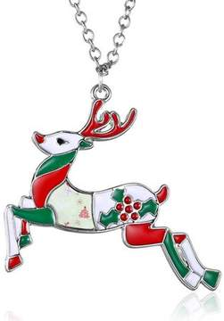 Alpha A A Christmas Silver Tone Holiday Deer Adjustable Necklace