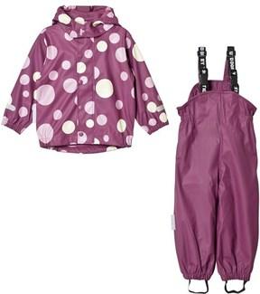 Ticket to Heaven Purple Amaranth Print Rain Set With Detachable Hood