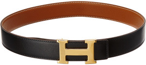 Hermes Gold-Tone Black Leather Reversible Constance Belt (Size 75)