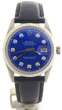 Rolex Datejust Stainless Steel w/Blue Diamond Dial & Black Strap Band Mens Watch