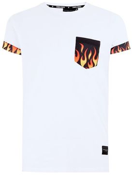 Criminal Damage White 'Fire' Pocket T-Shirt