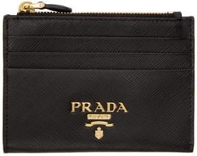 Prada Black Saffiano Top Zipped Multi Card Holder