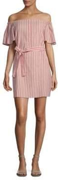 Collective Concepts Striped Tie Waist Mini Dress