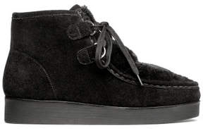 H&M Suede boots with faux fur - Black