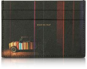 Paul Smith Black Mini Print Saffiano Leather Credit Card Holder