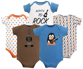 Luvable Friends Rock Blue 'Born to Rock' Bodysuit Set - Newborn & Infant